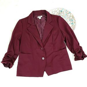 Cato Knit Blazer Jacket Ruched Sleeves
